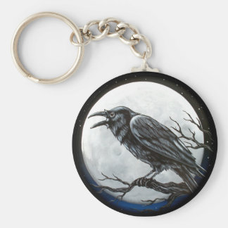 Raven Moon Basic Round Button Key Ring