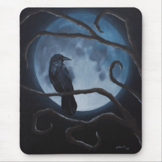 Raven Moon Crow Mouse Pad