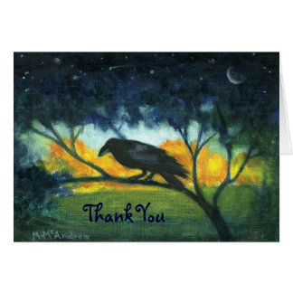 Raven Night Sky Thank You Note Card