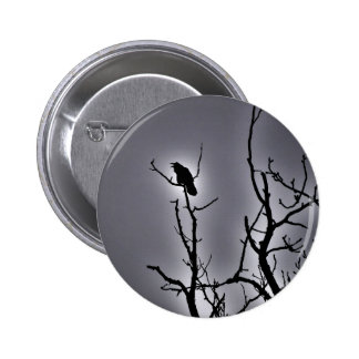 Raven On a Moonlit Night 6 Cm Round Badge