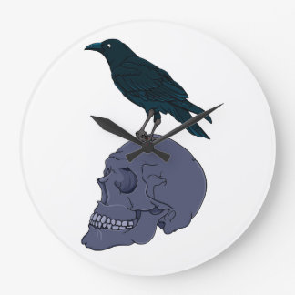 Raven on a Skull Wallclocks