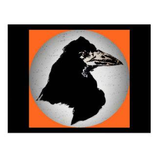 Raven on Orange Postcard