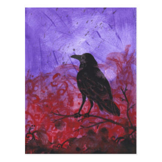 Raven on Red + Purple abstract crow art postcard