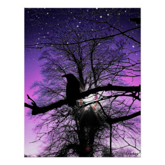 Raven on the Tree Poster