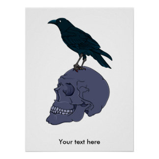 Raven Or Crow Standing On A Human Skull Poster