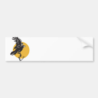 Raven Perching on Branch Retro Bumper Sticker