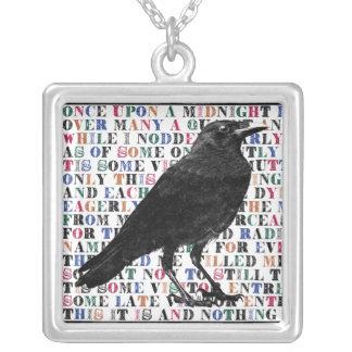 Raven Poem Edgar Allan Poe Silver Plated Necklace