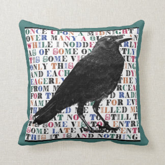 Raven Poem Throw Pillow