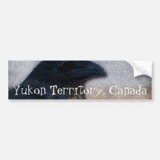 Raven Portrait; Yukon Territory Souvenir Car Bumper Sticker