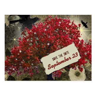 Raven Red Tree Gothic Save the Date Postcard