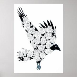 Raven & Roses Tattoo Illustration Retro Art Poster