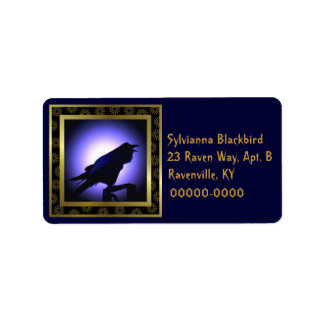 Raven Silhouette Against the Moon Address Label
