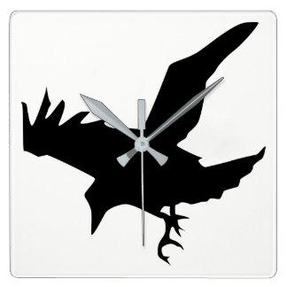 Raven Silhouette Square Wall Clock