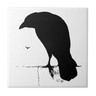 Raven Silhouette - Vintage Goth Ravens & Crows Ceramic Tile