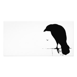 Raven Silhouette - Vintage Goth Ravens & Crows Customised Photo Card
