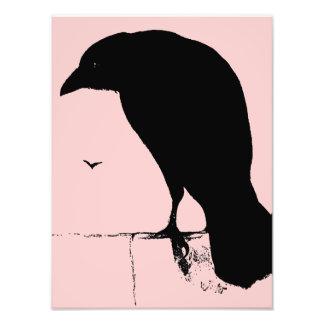 Raven Silhouette - Vintage Goth Ravens & Crows Photo Print