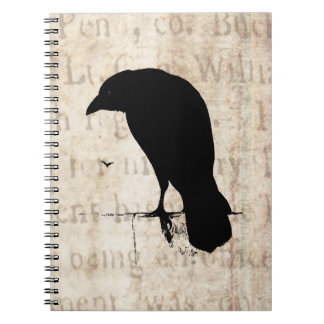 Raven Silhouette - Vintage Retro Ravens & Crows Notebook