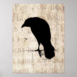 Raven Silhouette - Vintage Retro Ravens & Crows Poster