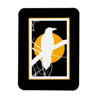 Raven Silhouette with Yellow Moon Magnet