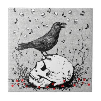 Raven Sings Song of Death on Skull Illustration Ceramic Tile