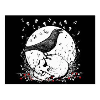 Raven Sings Song of Death on Skull Illustration Postcard