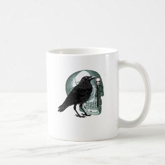 Raven Skull And Skeleton Key Basic White Mug