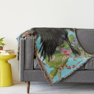 Raven Spirit Animal Throw Blanket