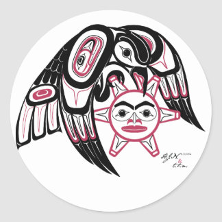 Raven Stealing the Sun Classic Round Sticker