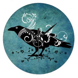 Raven & Swirls Teal Wall Clock
