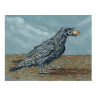 Raven with Egg in beak postcard