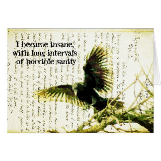 Raven With Poe Quote and Handwritting Card