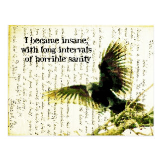 Raven With Poe Quote and Handwritting Postcard