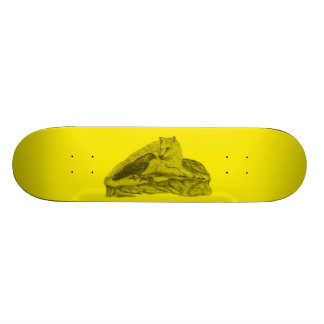 Raven with wolf black yellow Design Skateboard Deck