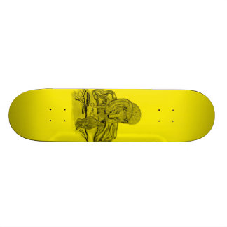 Raven with wolf black yellow Design Skate Boards