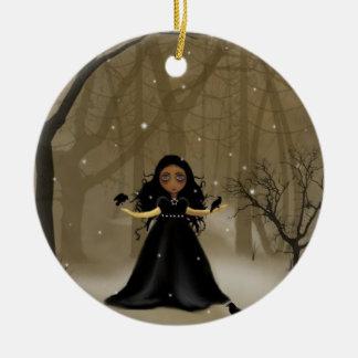 Raven Wood Christmas Ceramic Ornament