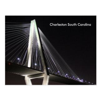 Ravenel Bridge at Night, Charleston SC, postcard