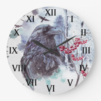Ravens Abstract Watercolor Winter Scene Round | Large Clock
