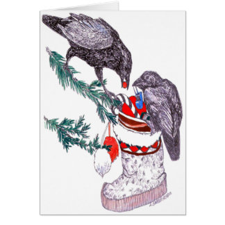 Ravens and Mukluk Alaska Wildlife Christmas Card