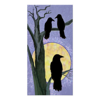 Ravens in a Tree at Sunrise Poster