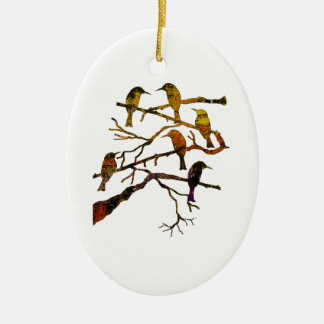 Ravens in the Mist Ceramic Ornament