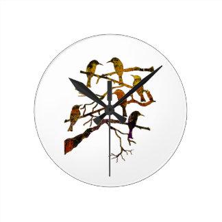 Ravens in the Mist Round Clock