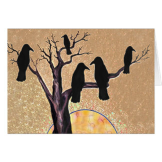 Ravens in the Tree at Dawn Card