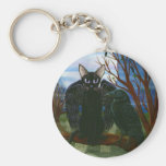 Raven's Moon Black Cat Crow Gothic Art Keychain