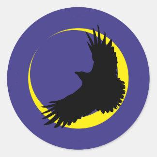 Ravens moon half-moon raven moon crescent round sticker