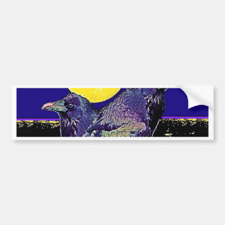 Ravens Spooky Moon @ by Sharles Bumper Stickers