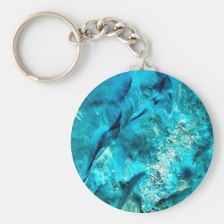 Raw And Rough Turquoise Texture Basic Round Button Key Ring