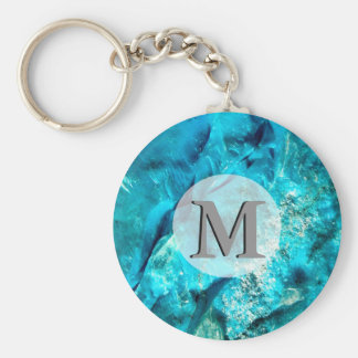 Raw And Rough Turquoise Texture Monogram Basic Round Button Key Ring