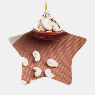 Raw cashew nuts for vegetarian food ceramic star decoration