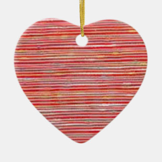 RAW Coarse FABRIC Thread Line Grains PRINT on GIFT Ceramic Heart Decoration