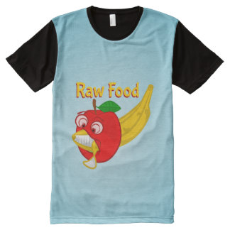 Raw Foods Food Fight Apple Verses Banana All-Over Print T-Shirt